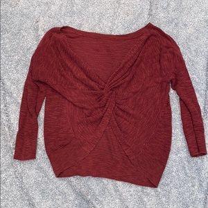 Tie back maroon sweater